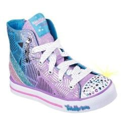 Girls' Skechers Twinkle Toes Step Up Glitzy Kicks High Top Lavender/Turquoise