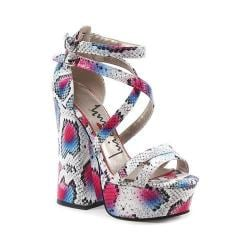 Women's Luichiny Tall Order Platform Sandal Pink Snake Imi Leather
