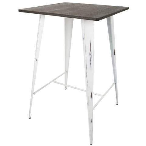 Carbon Loft Acar Pub Table in Vintage White and Espresso