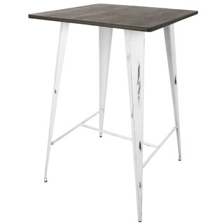 Oregon Pub Table with Vintage White Frame and Espresso Wood