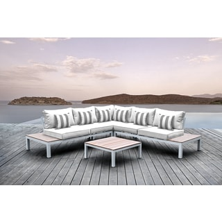 Solis Pulito 4-piece Outdoor Sectional White Aluminum with White Cushions and Grey/White Square Stripe Toss Pillows