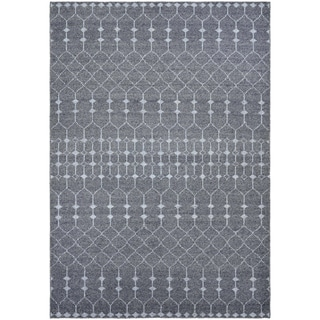 "Hand-Knotted Couristan Casbah Aria/Grey-Pewter, Natural Undyed Wool Rug (5'6"" x 8')"
