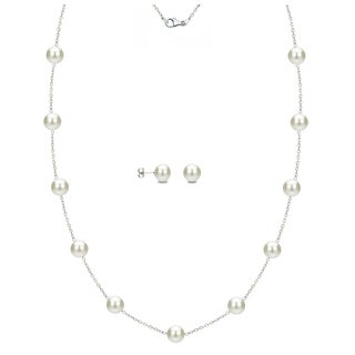 DaVonna Sterling Silver 6-7mm White Freshwater Pearl Tin-cup Necklace and Stud Earrings Set