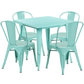 31.5-inch Square Metal Indoor Table Set with 4 Stack Chairs