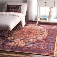 nuLOOM Traditional Persian Mamluk Blue Rug (7'10 x 10'10) - 7' 10 x 10' 10