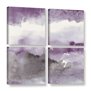 Mike Mschick's 'Midnight At The Lake III Amethst And Grey' 4 Piece Gallery Wrapped Canvas Square Set