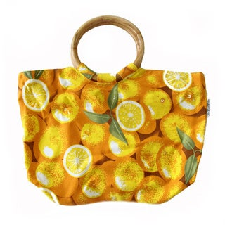 The Plaid Purse Oranges Yellow Canvas Wooden Handle Bag