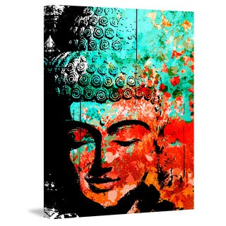 Marmont Hill - 'Buddha Green Red' by Rick Martin Painting Print on Wrapped Canvas