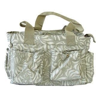 The Plaid Purse Silver Nylon Leaves Satchel Bag