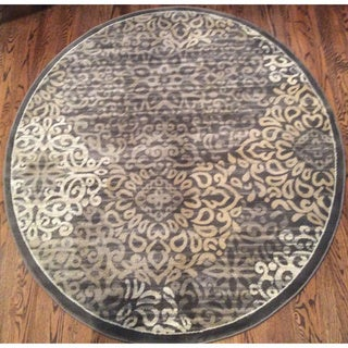 Plaza Mia Round Brown Area Rug (7'10 in Diameter) - 7'10 x 7'10