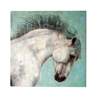 Jeco 'White Horse on Canvas' Wall Art