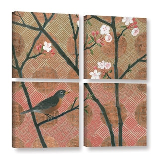 Katherine Lovell's 'Cherry Blossoms II' 4 Piece Gallery Wrapped Canvas Square Set