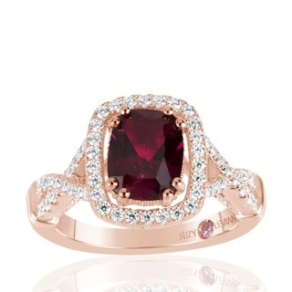 Suzy Levian Rose Sterling Silver Created Ruby and White Cubic Zirconia Engagement Ring