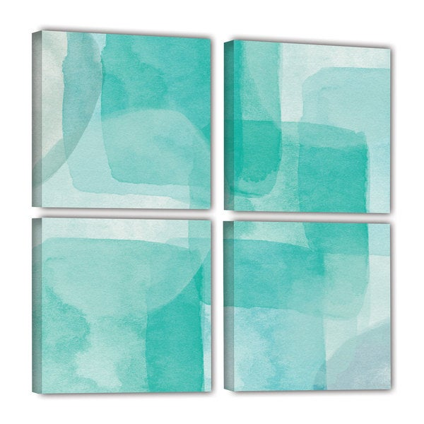 Linda Woods's 'Beach Glass 1' 4 Piece Gallery Wrapped Canvas Square Set