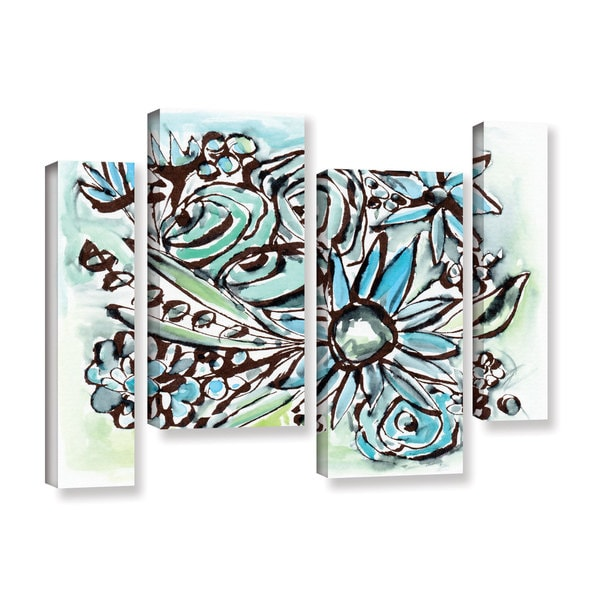 Linda Woods's 'Beach Glass Flowers 1' 4 Piece Gallery Wrapped Canvas Staggered Set