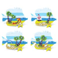 Puzzled Fish Refrigerator Beachwood Magnets (Pack of 4)