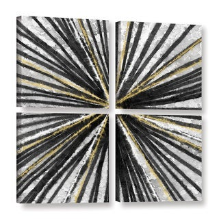 Linda Woods's 'Black and Gold Spinning' 4 Piece Gallery Wrapped Canvas Square Set