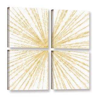 Linda Woods's 'Spinning Gold' 4 Piece Gallery Wrapped Canvas Square Set