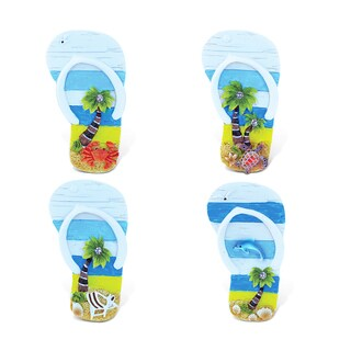 Puzzled Multicolor Resin Flip-flop Refrigerator Beachwood Magnets (Set of 4)