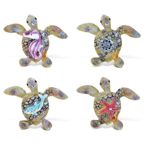Puzzled Sea Turtle Rockstone Resin Refrigerator Magnet (Pack of 4)