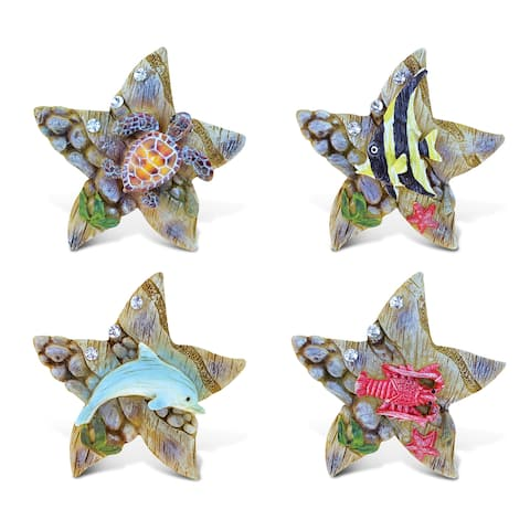 Puzzled Rockstone Sea Star Multicolor Resin Refrigerator Magnets (Pack of 4)