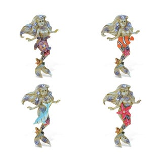 Puzzled Inc. Rockstone Mermaid Multicolored Resin Refrigerator Magnet (Pack of 4)