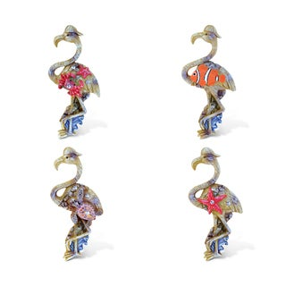 Puzzled Flamingo Rockstone Refrigerator Magnet (Set of 4)