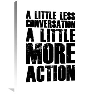 Naxart Studio 'A Little More Action Poster White' Stretched Canvas Wall Art