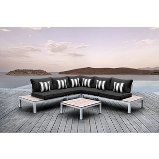Solis Pulito 4-piece Outdoor Sectional White with Black Cushions and Black and White Stripe Square Toss Pillows