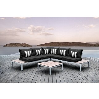 Solis Pulito 4-piece Deep Seated White Modular Sectional Patio Set, with Black Cushions, and Black/ White Stripe Toss Pillows