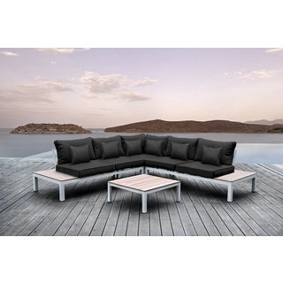 Solis Pulito 4-piece Outdoor Sectional White Aluminum with Black Cushions and Black Square Toss Pillows