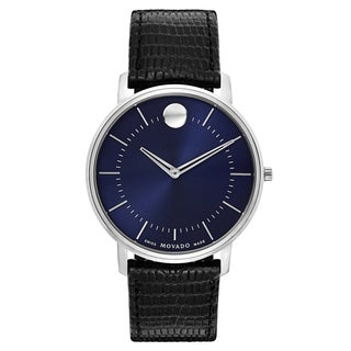 Movado Men's Swiss Quartz Watch with Stainless Steel Case and Leather Strap