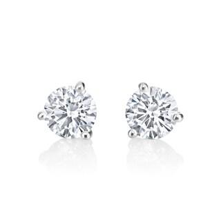 14k White Gold 1ct TDW Diamond Stud Earrings (H-I, SI2-SI3)