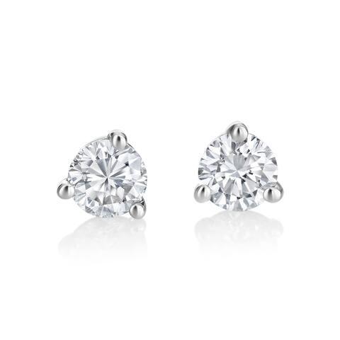 SummerRose 14k White Gold 1/2ct TDW White Diamond Martini Setting Stud Earrings