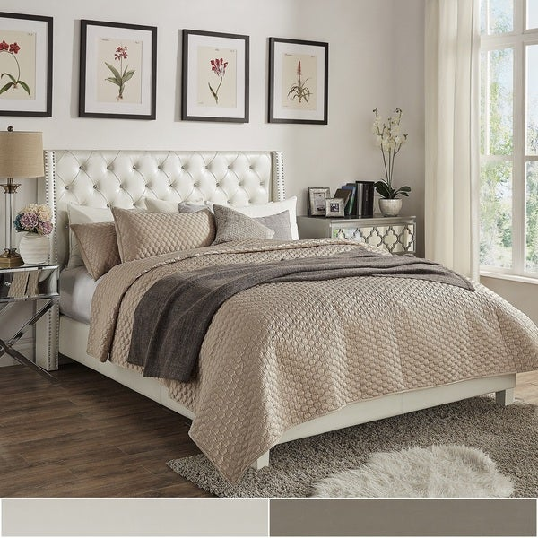 aurora faux leather crystal tufted nailhead wingback bed by inspire q bold - Wingback Bed Frame