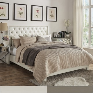 Aurora Faux Leather Crystal Tufted Nailhead Wingback Bed by iNSPIRE Q Bold