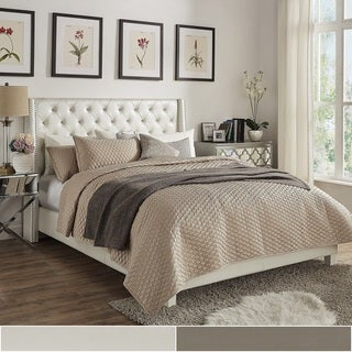 Aurora Faux Leather Crystal Tufted Nailhead Wingback Bed by INSPIRE Q