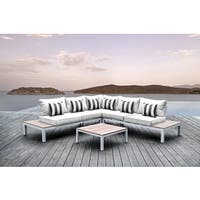 Solis Pulito 4-piece Deep Seated White Modular Sectional Patio Set, with White Cushions, and Black/ White Stripe Toss Pillows