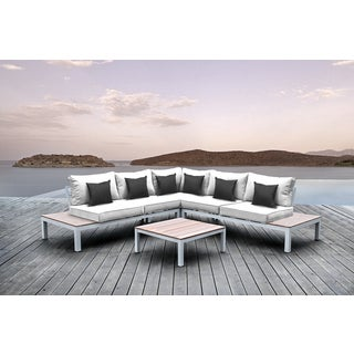 Solis Pulito 4-piece Outdoor Sectional White Aluminum with White Cushions and Black Square Toss Pillows