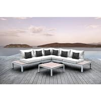 Solis Pulito 4-piece Deep Seated White Frame Modular Sectional Patio Set, with White Cushions, and Black Square Toss Pillows