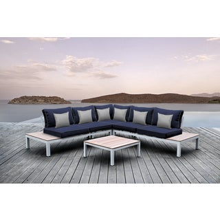 Solis Pulito 4-piece Outdoor Sectional White Aluminum with Navy Cushions and Grey Square Toss Pillows