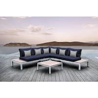 SOLIS Pulito 4-piece Outdoor White Aluminum Deep Seated Sectional, with Navy Cushions, and Grey Square Toss Pillows Patio Set