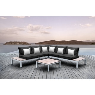 Solis Pulito 4-piece Outdoor Sectional White Aluminum with Black Cushions and White Square Toss Pillows