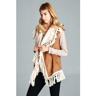 Spicy Mix Women's Nathalie Faux Suede Knotted Tassel Accent Vest