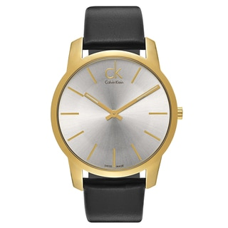 Calvin Klein Yellow Gold-plated Stainless Steel and Leather Men's Watch