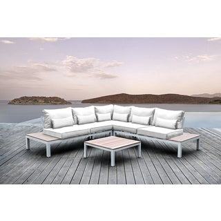 SOLIS Pulito 4-piece Outdoor White Aluminum Deep Seated Sectional, with White Cushions, and White Toss Pillows Patio Set