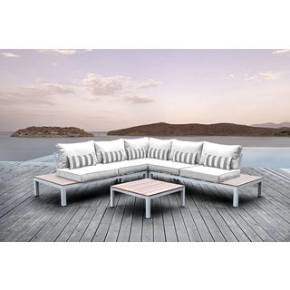 Solis Pulito 4-piece Outdoor Sectional White Aluminum with White Cushions and Grey and White Stripe Toss Pillows