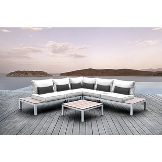 Solis Pulito 4-piece Outdoor Sectional White Aluminum with White Cushions and Black Toss Pillows