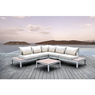 Solis Pulito 4-piece Outdoor Sectional White Aluminum with White Cushions and Beige Toss Pillows