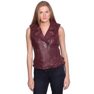 Nuborn Women's Leather Moto Vest|https://ak1.ostkcdn.com/images/products/13400870/P20096837.jpg?impolicy=medium